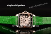 Cartier Santos 100 Large Asia Automatic Steel Case with White Dial Roman Numeral Markers and Green Leather Strap