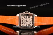 Cartier Santos 100 Large Asia Automatic Steel Case with White Dial Roman Numeral Markers and Orange Leather Strap