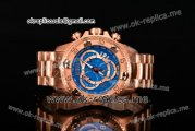 Invicta Orignial Excursion Chrono Swiss Ronda 5040 D Quartz Full Rose Gold with Blue Dial and Arabic Numeral Markers