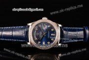 Rolex Day-Date Asia 2813 Automatic Steel Case with Blue Dial Diamonds Markers Diamonds Bezel and Blue Leather Strap (BP)