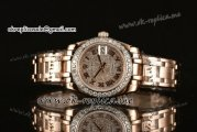 Rolex Datejust Pearlmaster 33mm Asia Automatic Rose Gold Case with Diamond Dial Diamond Bezel and Roman Markers