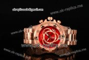 Invicta Orignial Excursion Chrono Swiss Ronda 5040 D Quartz Full Rose Gold with Red Dial and Arabic Numeral Markers