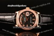 Rolex Day-Date Asia 2813 Automatic Rose Gold Case with Black MOP Dial Diamonds Markers Diamonds Bezel and Black Leather Strap (BP)