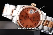 Rolex Datejust Automatic Movement ETA Case with Rose Gold Dial and Bezel-Rome Marker