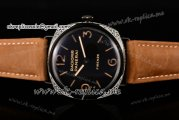 Panerai Radiomir Firenze 3 Days PAM 604 Asia Manual Winding PVD Case with Black Dial and Brown Leather Strap (FF)