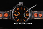 U-Boat IFO Automatic Movement PVD Case with Black Dial and Orange Marking-Black and Orange Leather Strap