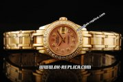 Rolex Datejust Oyster Perpetual Automatic Movement ETA Coating Case with Diamond Bezel and Orange Dial - Gold Strap