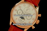 IWC Portuguese Moon Phase Chronograph Lemania Manual Working Chronograph Movement Rose Gold Case with White Dial and Brown Leather Strap