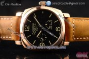 Panerai Radiomir 1940 3 Days GMT Power Reserve PAM00664 Asia ST25 Automatic Rose Gold Case with Black Dial Stick/Arabic Numeral Markers and Brown Leather Strap