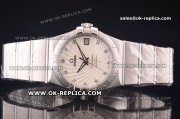 Omega Constellation Asia 2813 Automatic Full Steel with White Supernova Motif Dial and Diamond Markers