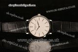 Patek Philippe Calatrava Miyota Quartz Steel Case with White Dial Stick Markers and Black Leather Strap