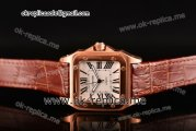 Cartier Santos 100 Large Aisa 2813 Automatic Rose Gold Case with White Dial Roman Numeral Markers and Brown Leather Strap