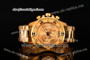 Invicta Orignial Excursion Chrono Swiss Ronda 5040 D Quartz Full Yellow Gold with Gold Dial and Arabic Numeral Markers