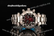Invicta Orignial Excursion Chrono Swiss Ronda 5040 D Quartz Full Steel with Black Skeleton Dial and White Dot Markers