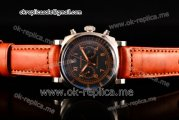 Panerai Radiomir 1940 Chronograph Bianco PAM 521 Asia Automatic Steel Case with Black Dial Arabic/Roman Numeral Markers and Orange Leather Strap