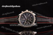 Breitling Bentley Barnato Chrono Miyota OS20 Quartz Steel Case Stick/Numeral Markers Three Red Subdials and Leather Strap