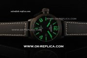 U-Boat IFO Automatic Movement PVD Case with Black Dial and Green Markers-Black Leather Strap