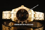 Rolex Datejust Oyster Perpetual Swiss ETA 2836 Automatic Movement Full Gold with Diamond Bezel and Black Dial