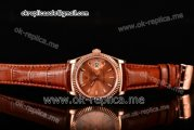 Rolex Day-Date Asia 2813 Automatic Rose Gold Case with Rose Gold Dial Stick Markers and Brown Leather Strap (BP)