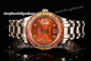 Rolex Datejust Pearlmaster Swiss ETA 2836 Automatic Steel Case with Orange Dial Diamonds Markers and Diamonds Bezel (BP)
