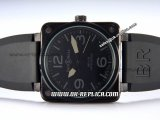 Bell&Ross BR01-92 Limited Edition Automatic Movement PVD Case with Black Rubber Strap and Black Markers-Black Dial