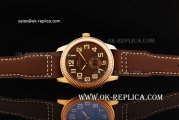 IWC Pilot's Manual Winding Movement Rose Gold Case with Brown Dial and Brown Leather Strap-White Numeral Markers