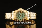 Rolex Datejust Oyster Perpetual Swiss ETA 2836 Automatic Movement Full Gold with Diamond Bezel and Blue MOP Dial