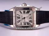 Cartier Santos 100 Automatic Movement Silver Case with White Dial and Roman Markers-Black Leather Strap