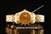 Rolex Datejust Oyster Perpetual Swiss ETA 2836 Automatic Movement Full Gold with Diamond Bezel and Gold Dial