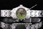 Rolex Datejust Automatic Movement ETA Case with Green MOP Dial and Diamond Bezel-Diamond Marking-Lady Size