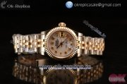 Rolex Oyster Perpetual Lady Datejust Swiss ETA 2671 Automatic 904 Steel/14K Yellow Gold Case With White Dial Diamonds Markers and Yellow Gold Bracelet (BP)