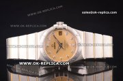 Omega Constellation Asia 2813 Automatic Two Tone with Gold Dial and Diamond Markers