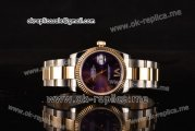 Rolex Datejust Swiss ETA 2836 Automatic Steel/Gold Case with Purple Dial and Two Tone Strap (BP)