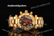 Invicta Orignial Excursion Chrono Swiss Ronda 5040 D Quartz Full Yellow Gold with Black/Gold Skeleton Dial and White Dot Markers