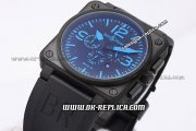 Bell&Ross 03-94 Chronograph Quartz Movement PVD Case with Black Dial and Blue Marker