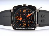 Bell&Ross BR01-94 Quartz Movement PVD Case with Black Rubber Strap and Orange Markers-Black Dial