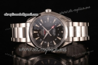Omega Aqua Terra 150m GMT Clone Omega 8505 Automatic Full Steel with Black Dial Stick Markers (EF)