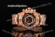 Invicta Orignial Excursion Chrono Swiss Ronda 5040 D Quartz Full Rose Gold with Black Dial and Arabic Numeral Markers