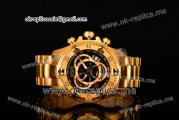 Invicta Orignial Excursion Chrono Swiss Ronda 5040 D Quartz Full Yellow Gold with Black Dial and Arabic Numeral Markers
