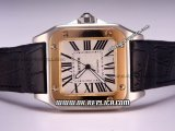 Cartier Santos 100 Automatic Movement Two Tone Case with White Dial and Roman Markers-Black Leather Strap
