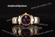 Rolex Datejust Swiss ETA 2836 Automatic Steel/Gold Case with Purple Dial Diamonds Bezel and Roman Markers (BP)