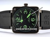 Bell&Ross BR01-92 Limited Edition Automatic Movement PVD Case with Black Rubber Strap and Green Markers-Black Dial