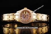 Rolex Datejust Oyster Perpetual Swiss ETA 2671 Automatic Movement Full Gold with Diamond Bezel and MOP Dial-Diamond Markers-Lady Size