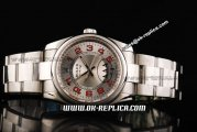 Rolex Air King Swiss ETA 2836 Automatic Movement Full Steel with Silver Dial and Red Numeral Marker