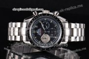 Omega Speedmaster Chrono Miyota Quartz Full Steel with Black Dial and Stick Markers