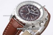 Breitling Bentley Automatic Movement with Red Dial and Brown Leather Strap-Silver Stick Marker