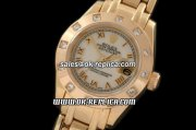 Rolex Datejust Oyster Perpetual Swiss ETA 2671 Automatic Movement Full Gold with Diamond Bezel-White Dial and Roman Markers-Lady Size