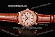 Rolex Day-Date Asia 2813 Automatic Rose Gold Case with White Dial Diamonds Markers Diamonds Bezel and Brown Leather Strap (BP)