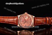 Rolex Day-Date Asia 2813 Automatic Rose Gold Case with Rose Gold Dial Diamonds Markers and Brown Leather Strap (BP)