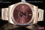 Rolex Oyster Perpetual Air King Clone Rolex 3135 Automatic Rose Gold Case with Red Grape Dial Stick Markers and Steel Bracelet - 1:1 Original (AR)